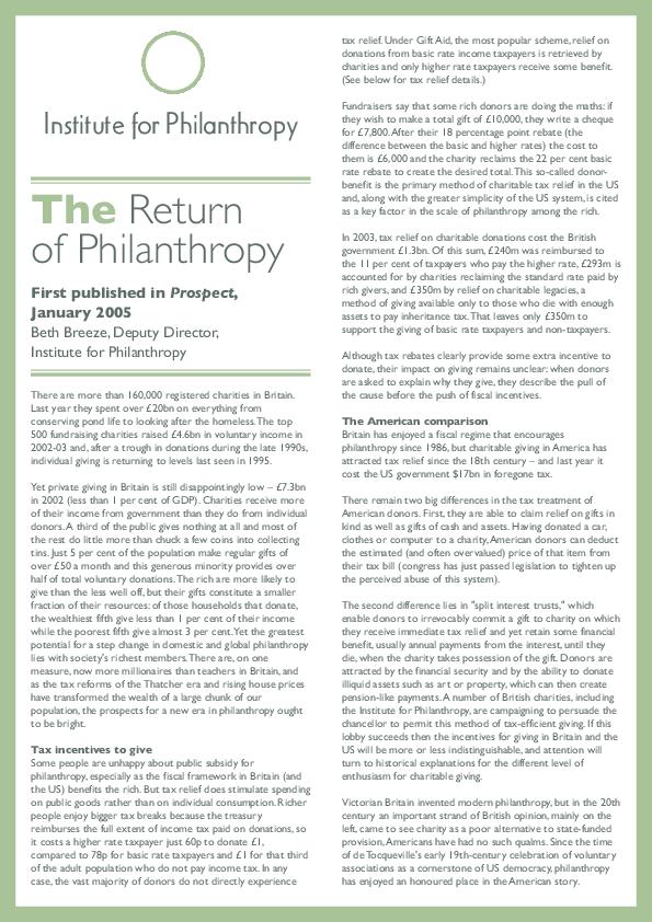 PDF) The return of philanthropy | Beth Breeze - Academia edu