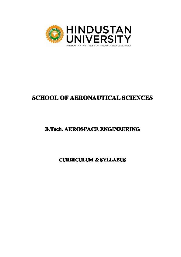 PDF) Syllabus for aerospace engineering (Hindustan University