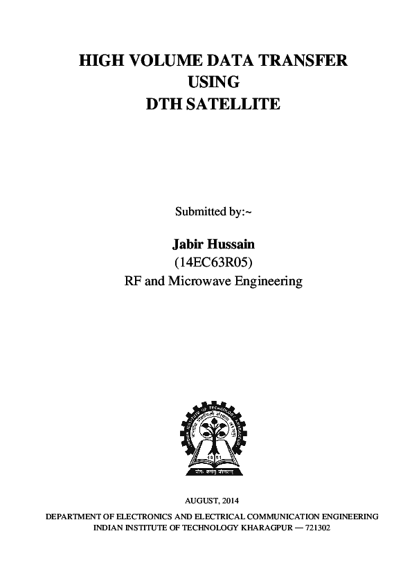 DOC) Data Transfer using DTH Satellite | Jabir Hussain