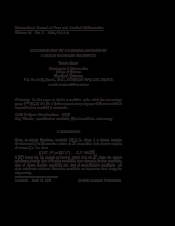 PDF) COHOMOLOGY OF CR-SUBMANIFOLDS OF A QUASI KAEHLER