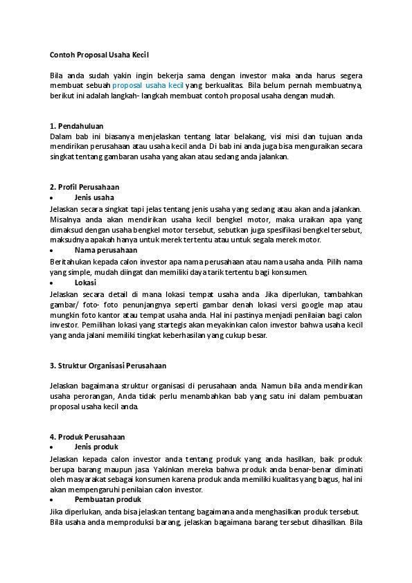 Doc Contoh Proposal Usaha Kecil Kiezsta Bloodsakura Academia Edu