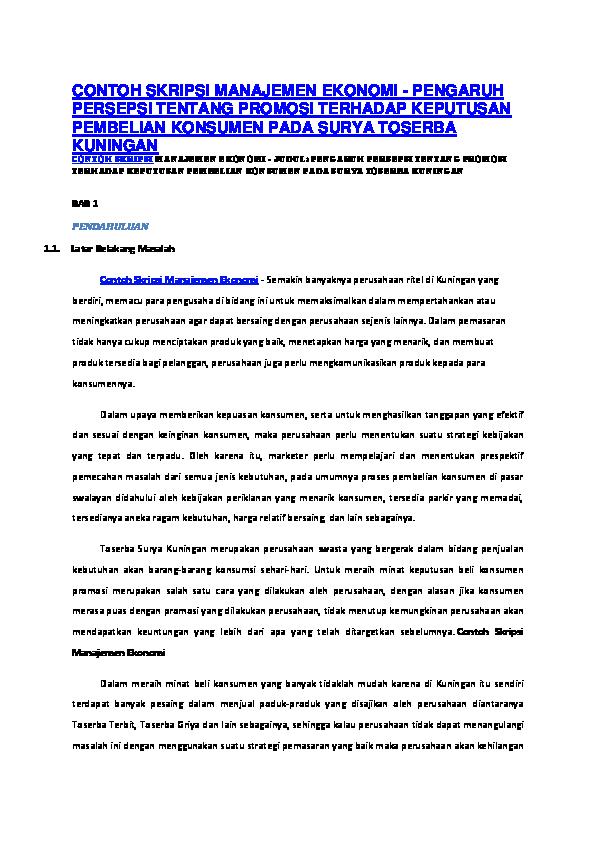 Pdf Contoh Skripsi Manajemen Ekonomi Pengaruh Persepsi Tentang