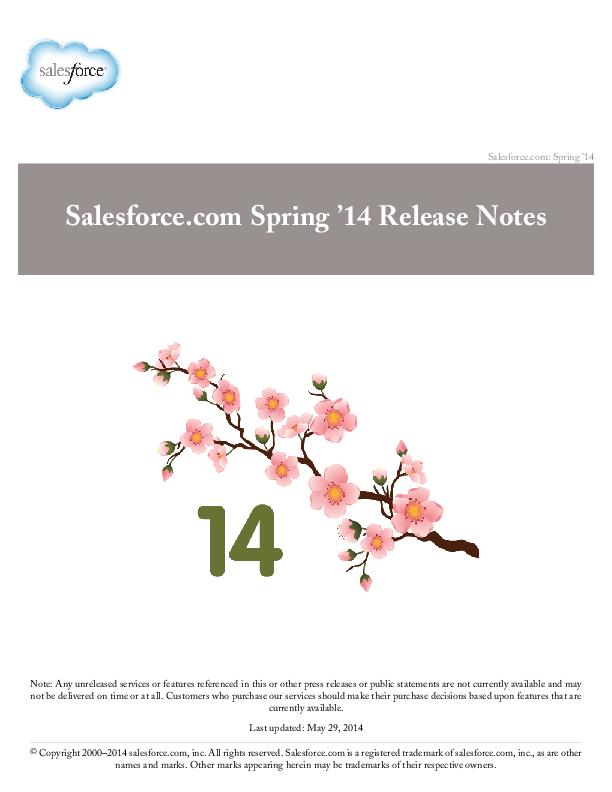 PDF) Salesforce com Spring '14 Release Notes | Siva