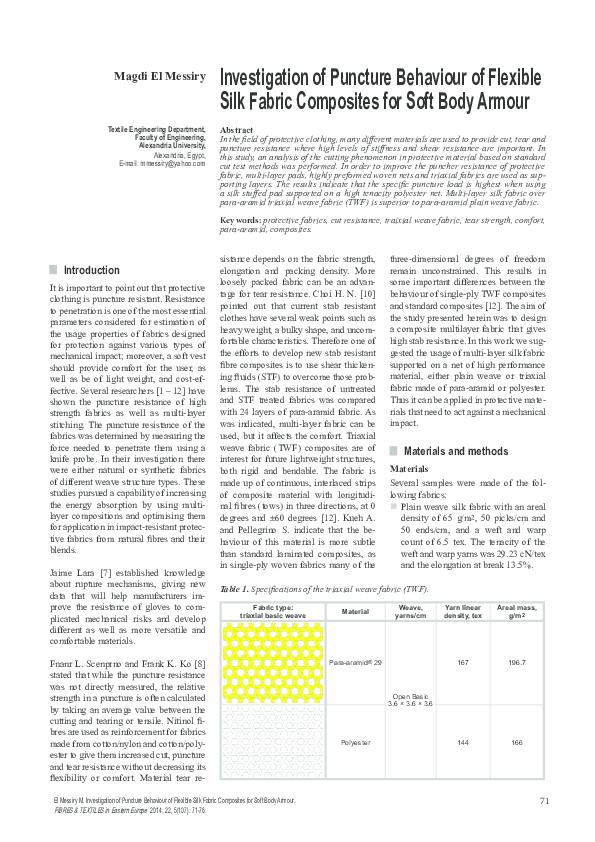 PDF) Investigation of Puncture Behaviour of Flexible Silk