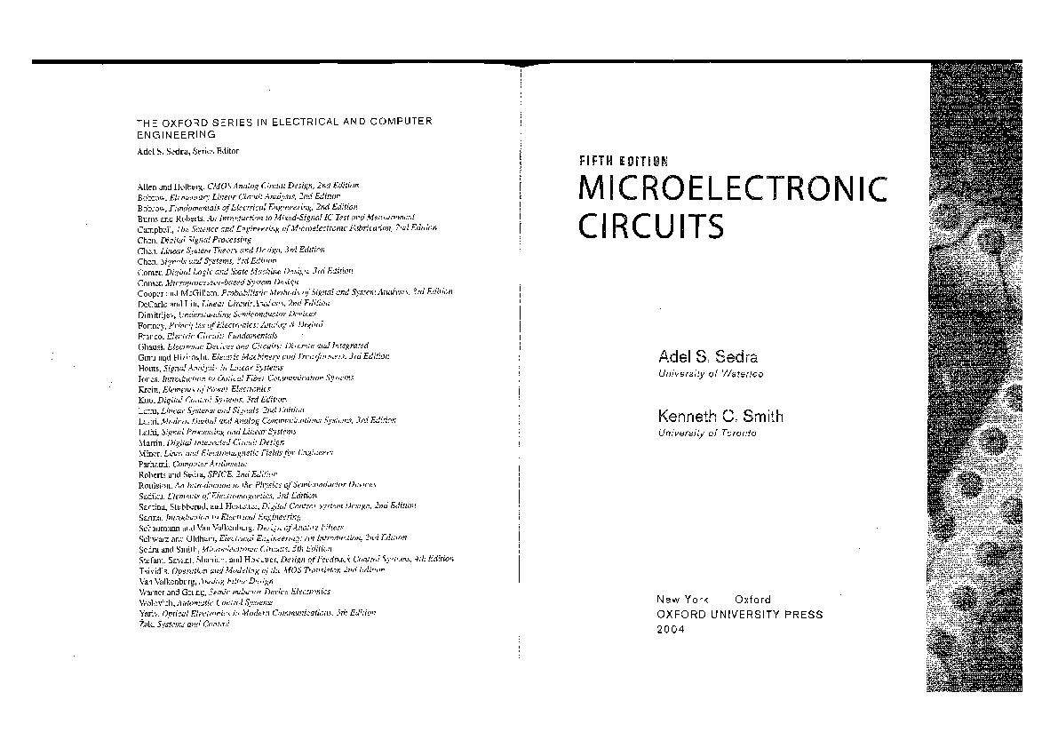 PDF) Microelectronic Circuits,5E Sedra Smith | Zhong Deng