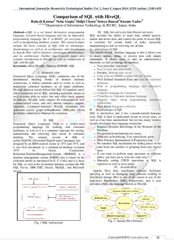 PDF) Comparison of SQL with HiveQL | Rakesh Kumar - Academia edu