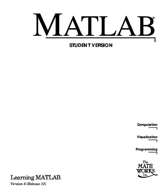 PDF) Learning matlab | rajasekar pa - Academia edu