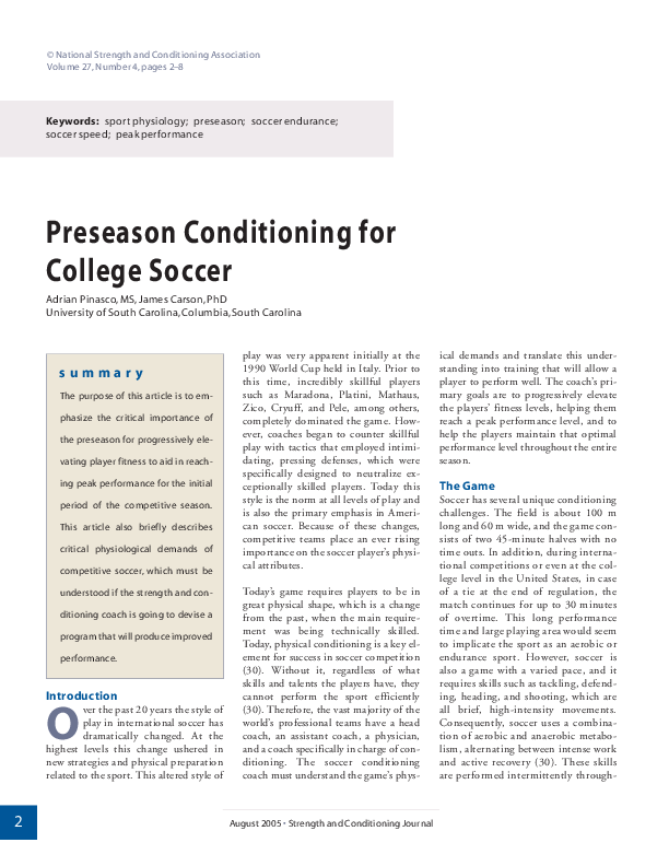 PDF) Preseason Conditioning for College Soccer | Adrian