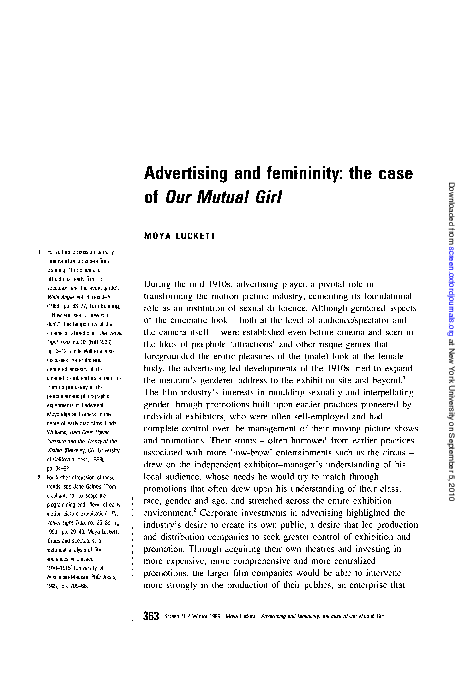 PDF) Advertising and femininity: the case of Our Mutual Girl | Moya