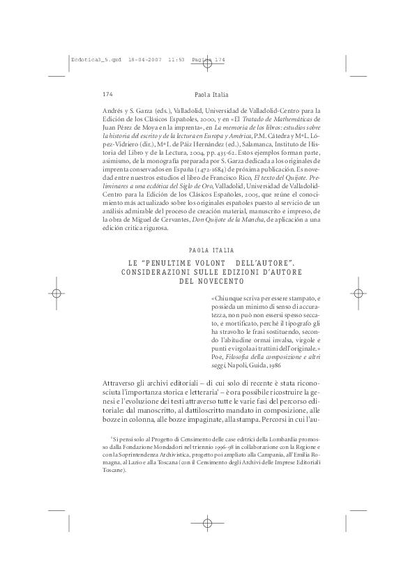 Pdf 2006 Le Penultime Volontà Dell Autore Ecdotica N