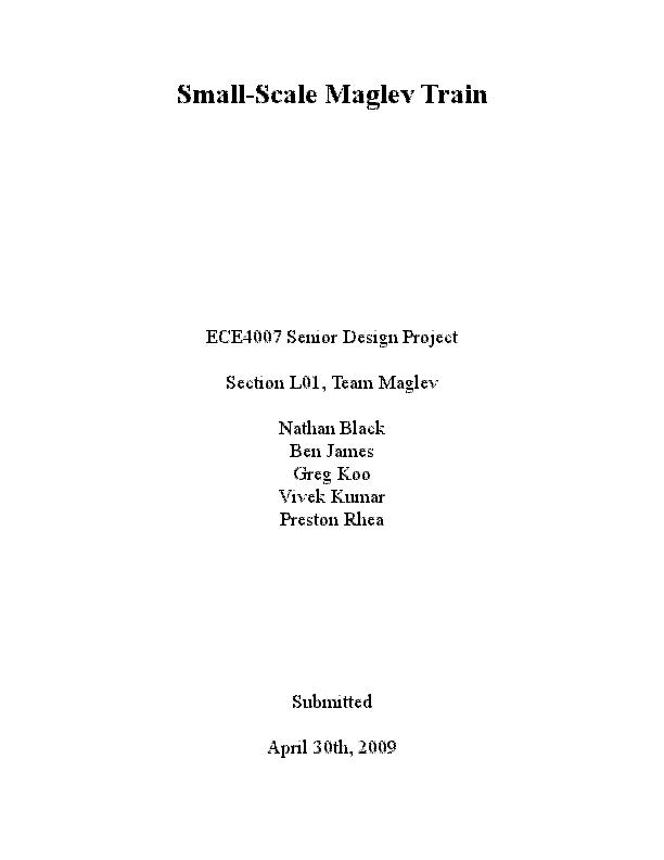 PDF) Small-Scale Maglev Train ECE4007 Senior Design Project Section