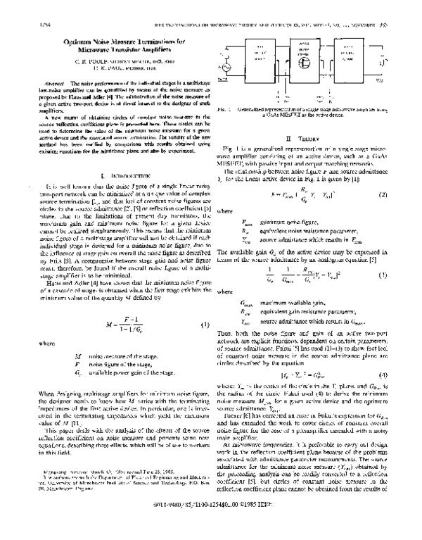 Pdf Optimum Noise Measure Terminations