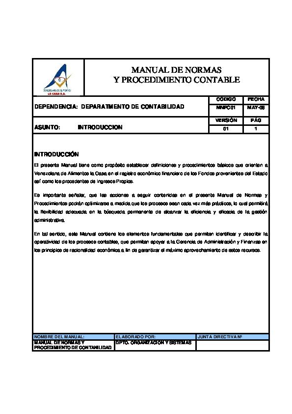 Pdf Manual De Normas Y Procedimiento Contable Dependencia