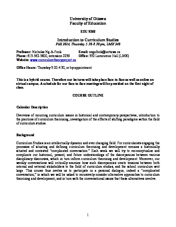 PDF) Introduction to Curriculum Studies EDU 5260 | Nicholas