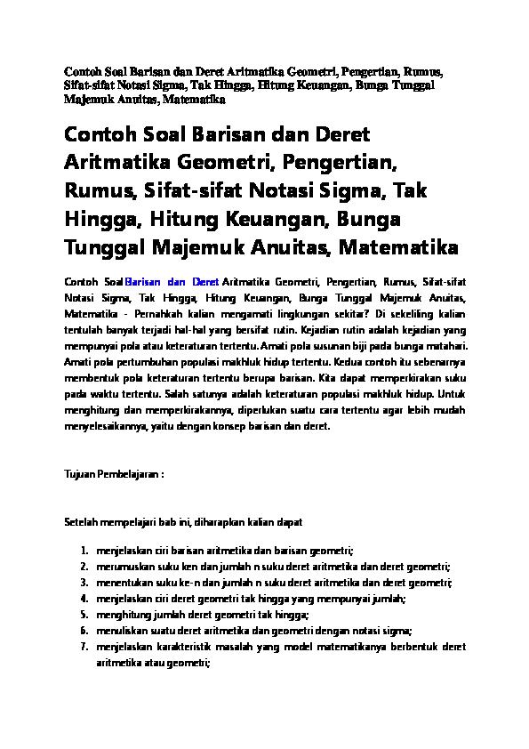 Doc Contoh Soal Barisan Dan Deret Aritmatika Geometri Windrayanto Cahyo Academia Edu