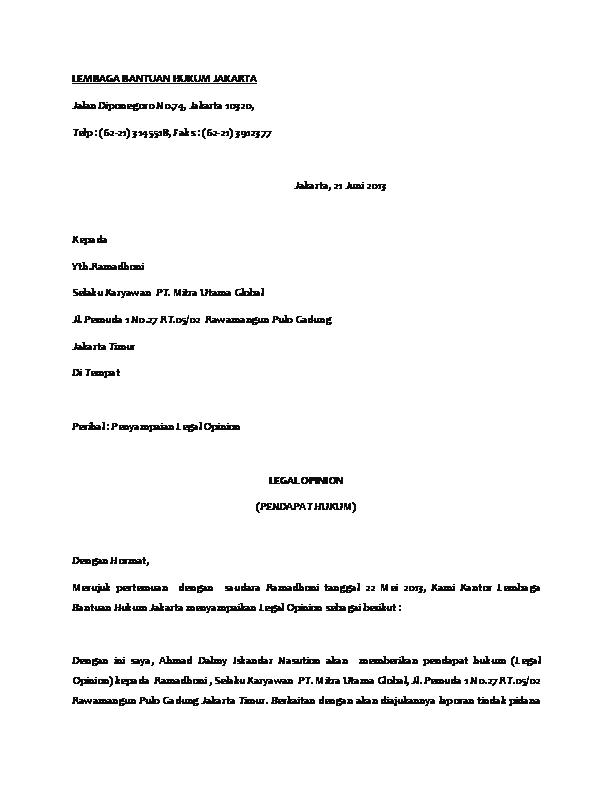 Doc Legal Opinion Ahmad Dalmy Iskandar Nasution Academia Edu
