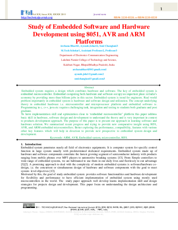 PDF) Study of Embedded Software and Hardware using 8051, AVR & ARM