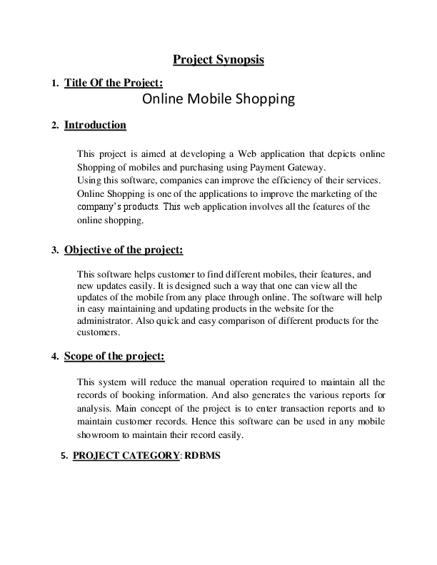 DOC) Project Synopsis 1  Title Of the Project: Online Mobile