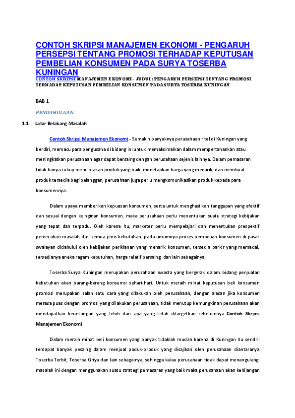 Contoh Skripsi Manajemen Research Papers Academia Edu