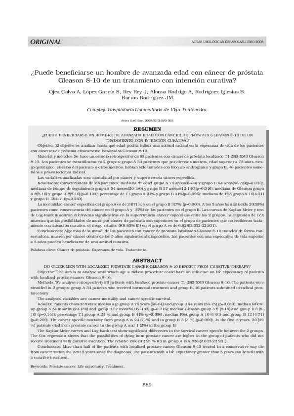 tratamiento adenocarcinoma prostata gleason 8