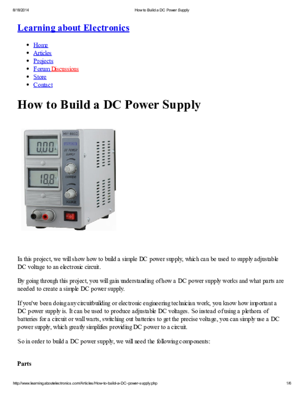 PDF) How to Build a DC Power Supply | chasiful anwar