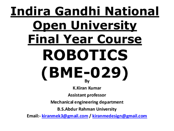 PDF) Robotics Lectures-1 For Final Year Indira Gandhi National Open