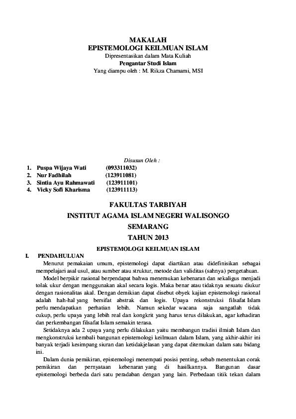 Doc Makalah Epistemologi Asri Indah Academia Edu