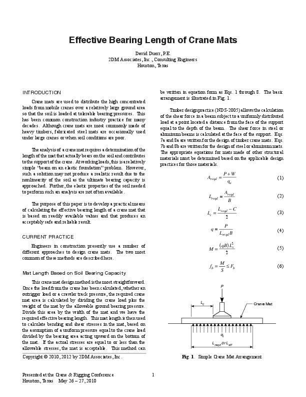 PDF) Effective Bearing Length of Crane Mats | Salman Rolex
