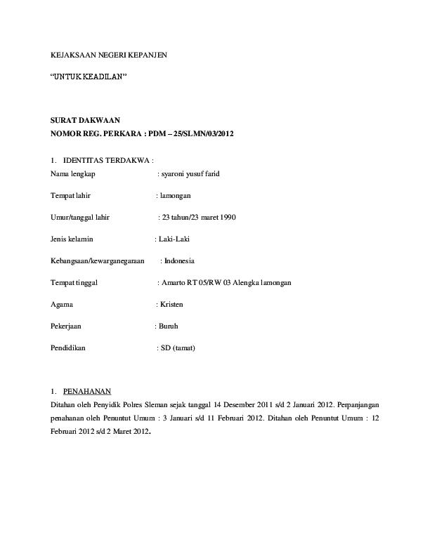 Doc Contoh Surat Dakwaan Widad Khaitam Academiaedu