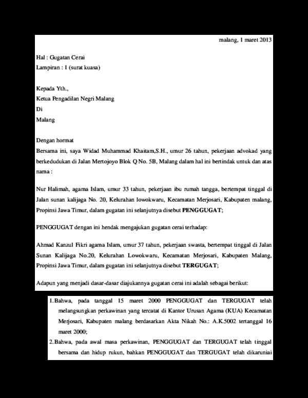 Doc Surat Gugatan Cerai Widad Khaitam Academiaedu
