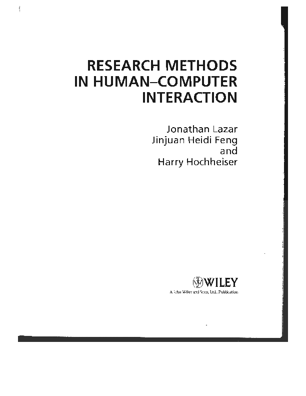 Research Methods In Human-computer Interaction Pdf