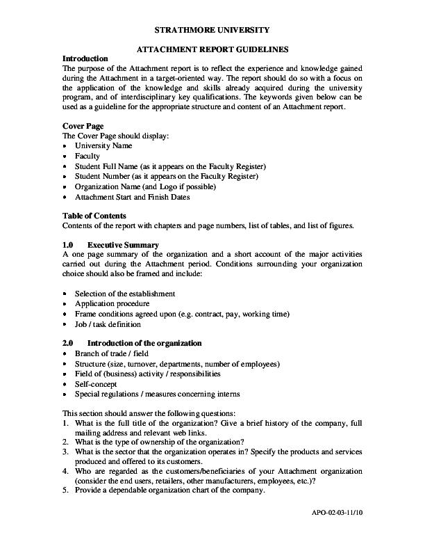 PDF) STRATHMORE UNIVERSITY ATTACHMENT REPORT GUIDELINES