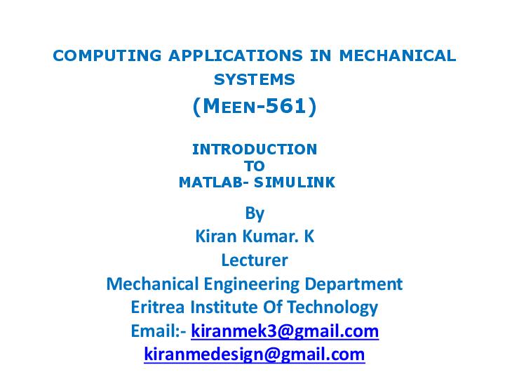 PDF) Matlab Simulink Sim Hydraulics & Sim Mechanics Lecture For