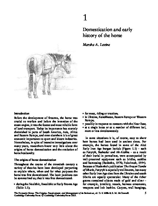 PDF) Domestication and early history of the horse | Marsha