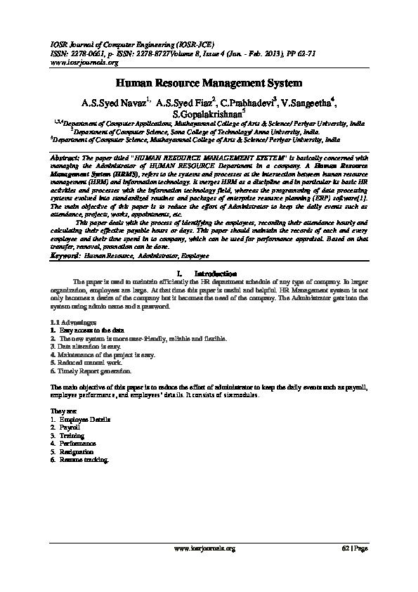 PDF) Human Resource Management System | Gladys Yabalwazi