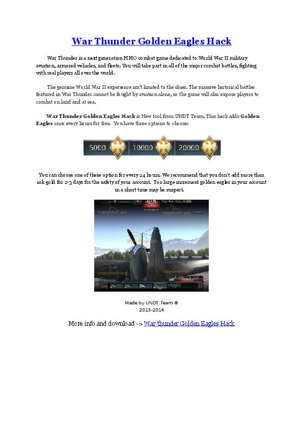 DOC) War Thunder Golden Eagles Hack | Joseph J  Urrutia