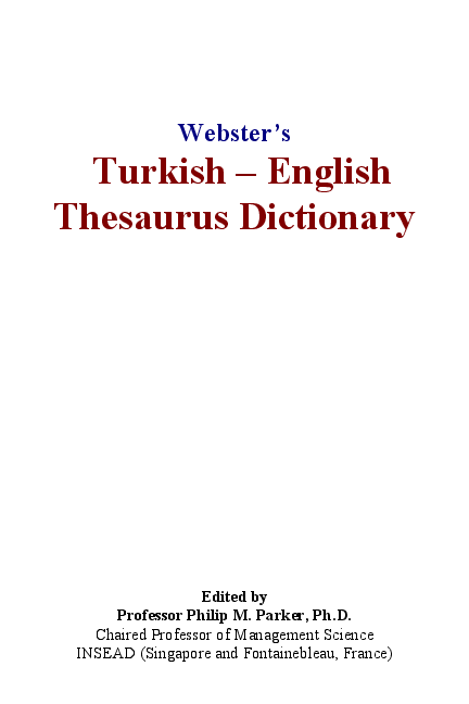 PDF) Webster's Turkish – English Thesaurus Dictionary