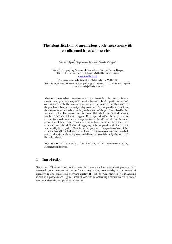 PDF) The identification of anomalous code measures with