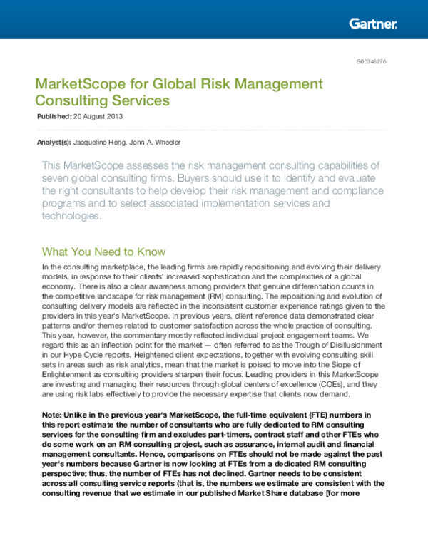 PDF) MarketScope for Global Risk Management Consulting