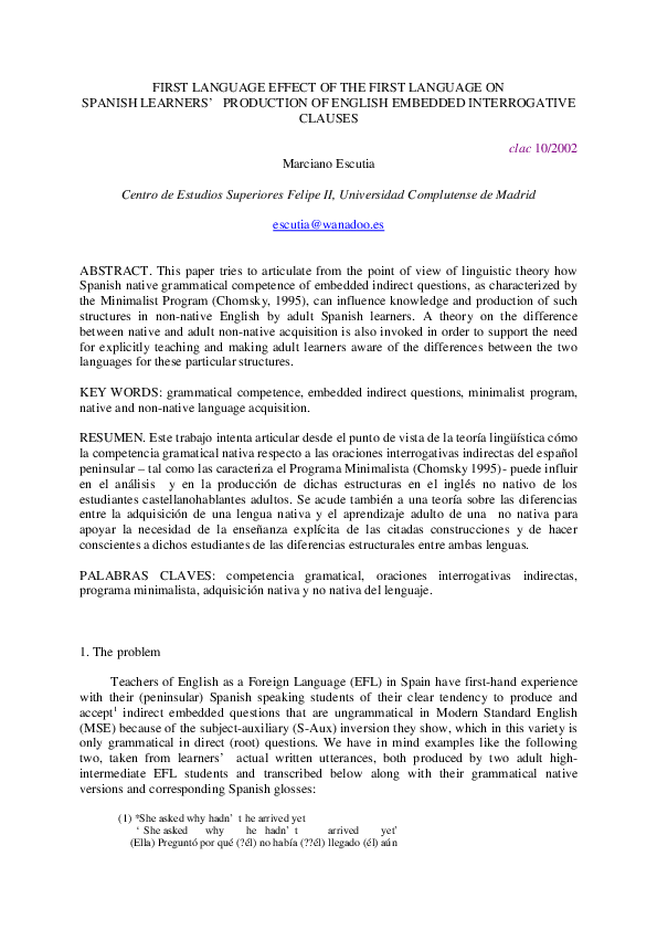 Pdf Marciano Escutia English Embedded Interrogative Clauses