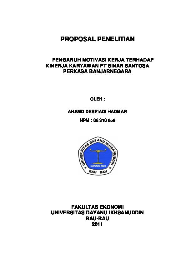 Doc Cover Proposal Produktivitas Kerja Bagas Ahmad Academia Edu