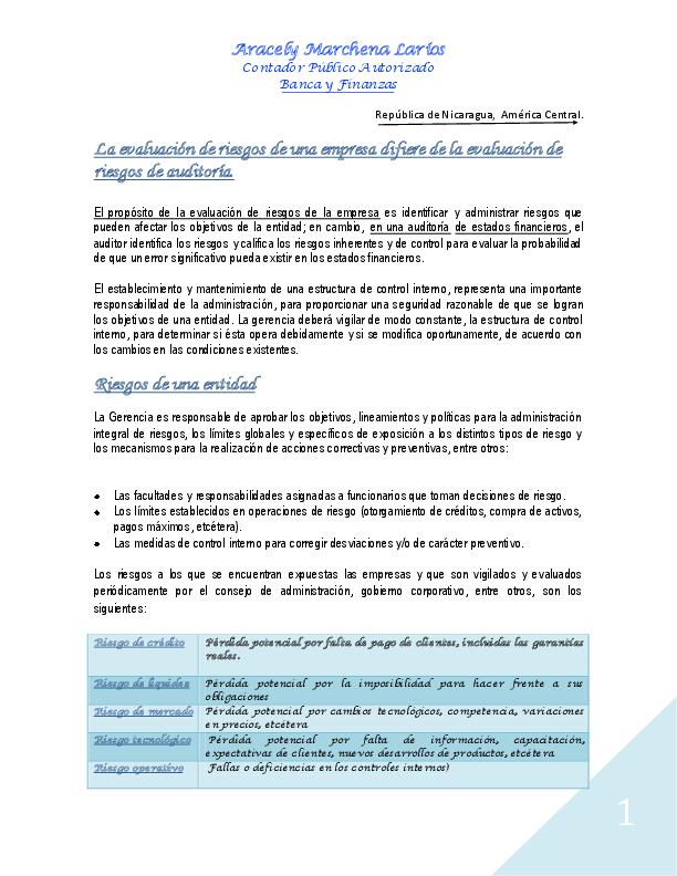Pdf Enfoque De Auditoria Basada En La Evaluacion De Riesgo