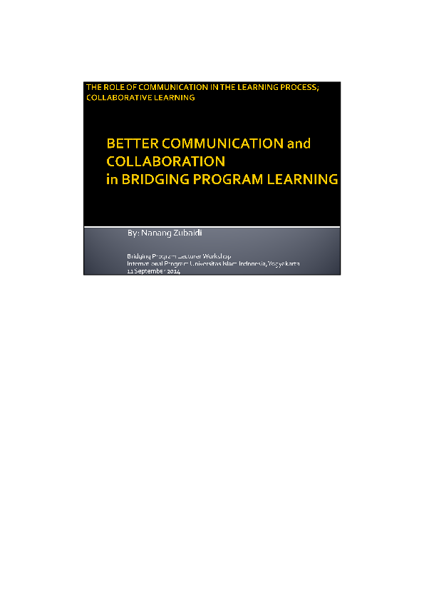 PDF) NZ - The role of communication in the learning process