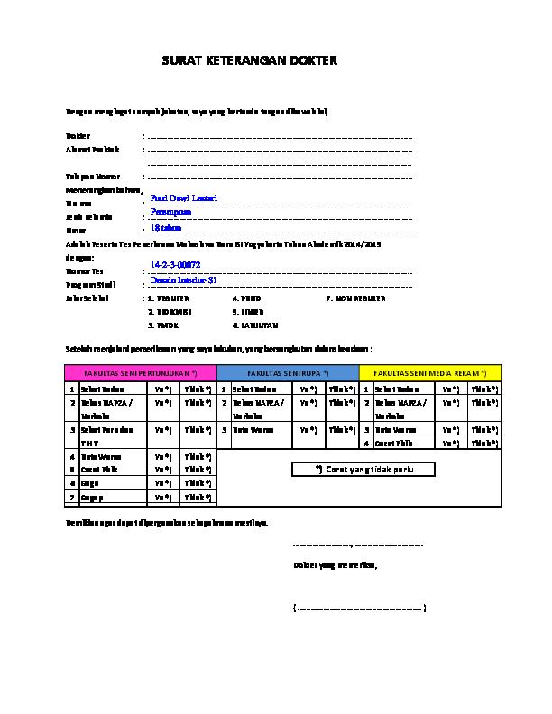 Pdf Form Surat Keterangan Sehat Dan Bebas Napza Anggreani