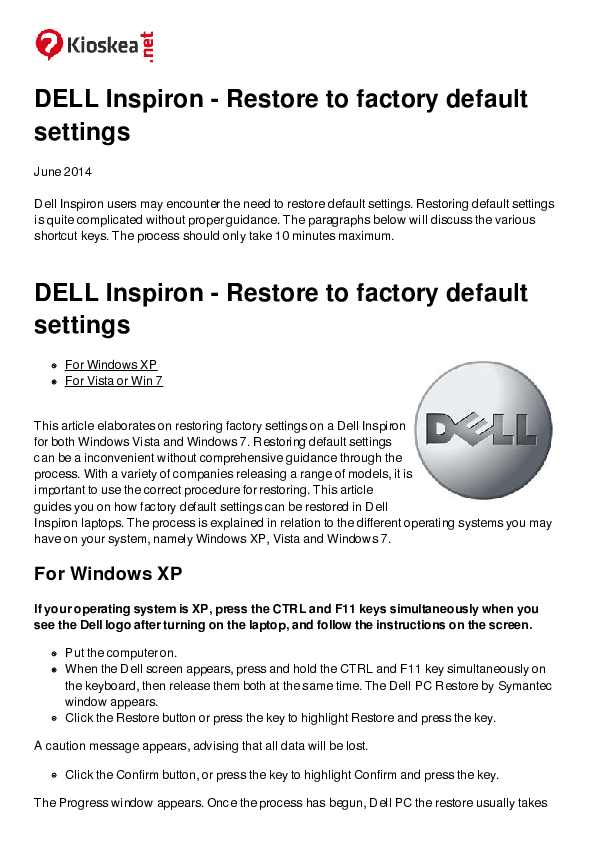 PDF) DELL Inspiron -Restore to factory default settings