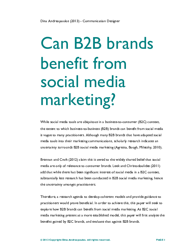 Pdf Can B2b Brands Benefit From Social