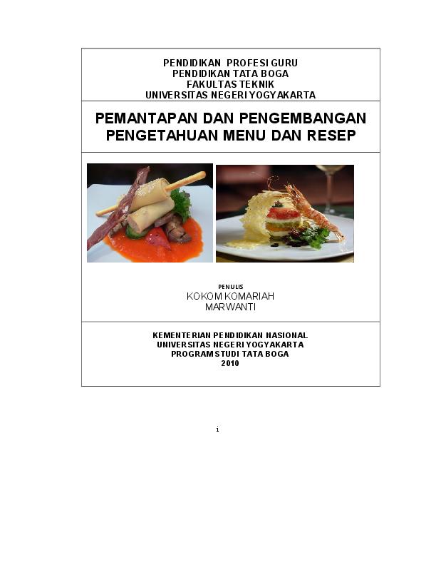 Pdf Modul Resep Dan Menu Kontinental Publisher Www Jual Keju