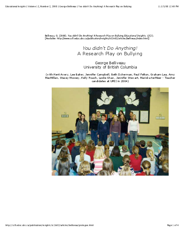 PDF) Anti-bullying drama script | George Belliveau - Academia edu