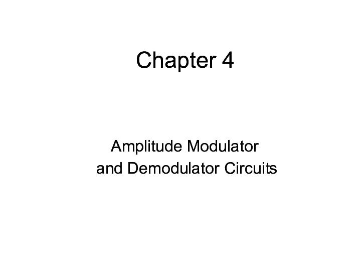 PDF) 4-AMPLITUDE MODULATOR AND DEMODULATOR CIRCUITS | Appi T