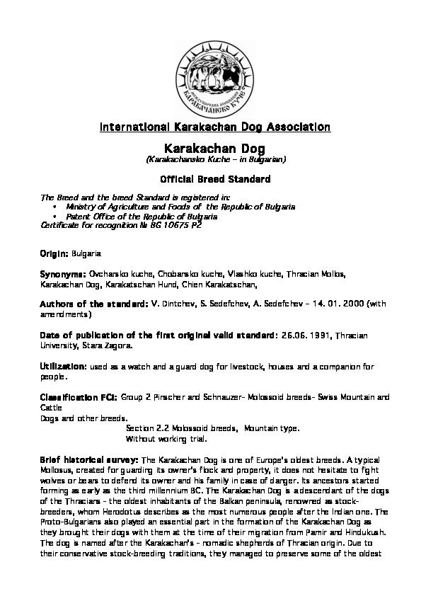 PDF) Karakachan dog Standard IKDA official ENG | Venelin